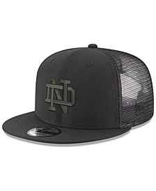 Notre Dame Fighting Irish Black on Black Meshback Snapback Cap