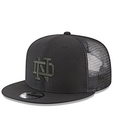 New Era Notre Dame Fighting Irish Black on Black Meshback Snapback Cap