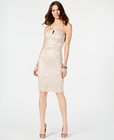 Vince Camuto Embellished Strapless Sheath Dress