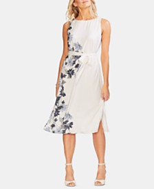 Vince Camuto Vine-Print Belted Dress