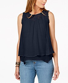 Petite Layered-Hem Lace-Trim Top, Created for Macy's