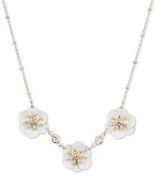 lonna & lilly Gold-Tone White Flower Frontal Necklace, Created for Macy's