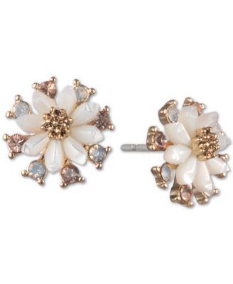 Gold-Tone White Flower Stud Earrings