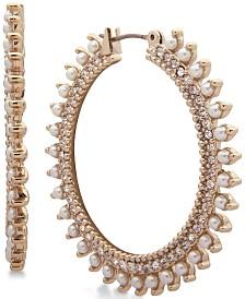 Marchesa Gold-Tone Crystal & Stone Hoop Earrings