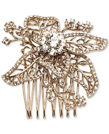 Marchesa Gold-Tone Crystal Flower Hair Comb