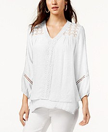 Lace-Yoke Handkerchief-Hem Top, Created for Macy's