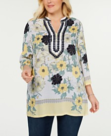 Charter Club Plus Size Printed Appliqué Tunic, Created for Macy's