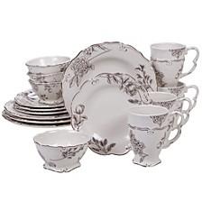 Vintage Cream with Floral 16-Pc. Dinnerware Set