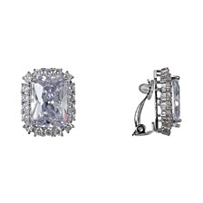 Emerald-Cut Cubic Zirconia Clip-on Earrings