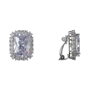 Nina Accessories EMERALD-CUT CUBIC ZIRCONIA CLIP-ON EARRINGS