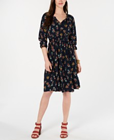 Style & Co Printed Tassel-Tie Midi Dress, Created for Macy's