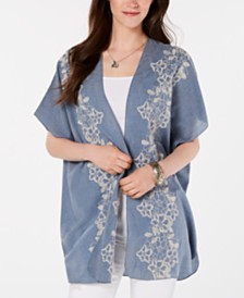 Style & Co Embroidered Open-Front Kimono, Created for Macy's