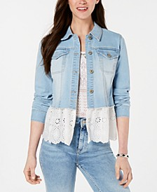Petite Eyelet-Hem Denim Jacket, Created for Macy's