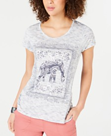 Style & Co Elephant Graphic-Print T-Shirt, Created for Macy's