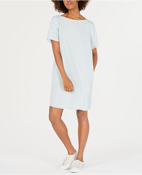 Eileen Fisher Boat-Neck Tencel® and Recycled Polyester T-Shirt Dress