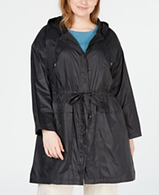 Eileen Fisher Plus Size Hooded Tie-Waist Jacket