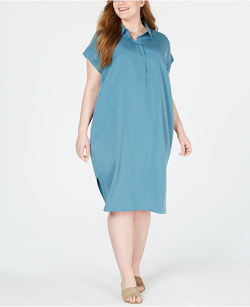 Eileen Fisher Plus Size Tencel® and Recycled Polyester Shirtdress