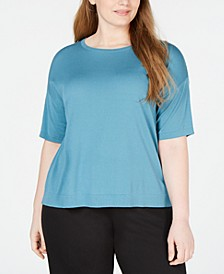 Plus Size Elbow-Sleeve Tencel ™ T-Shirt