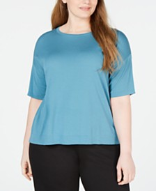Eileen Fisher Plus Size Elbow-Sleeve Tencel ™ T-Shirt