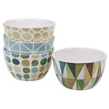 Certified International Mixed Greens Pattern 4-Pc. Ice Cream Bowl