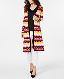 Thalia Sodi Chevron-Stripe Duster Cardigan, Created for Macy's