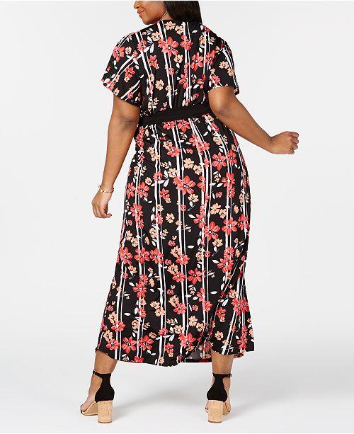 e1b6ab1bfa0 ... NY Collection Plus   Petite Plus Size Surplice Printed Maxi Dress ...