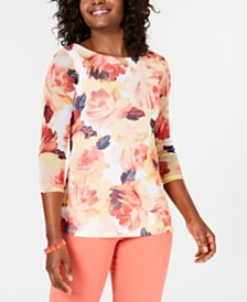 Charter Club Petite Floral Mesh Knit Top, Created for Macy's