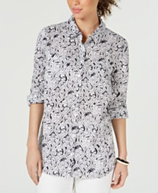 Charter Club Plus Size Linen Printed Blouse, Created for Macy's
