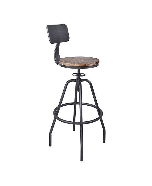 Armen Living Perlo Industrial Adjustable Barstool