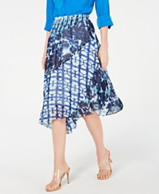 I.N.C. Mixed-Print Tie-Dye Asymmetrical Skirt, Created for Macy's