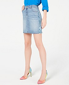 INC Sparkle-Side Jean Skirt, Created for Macy's