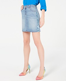 I.N.C. Sparkle-Side Jean Skirt, Created for Macy's