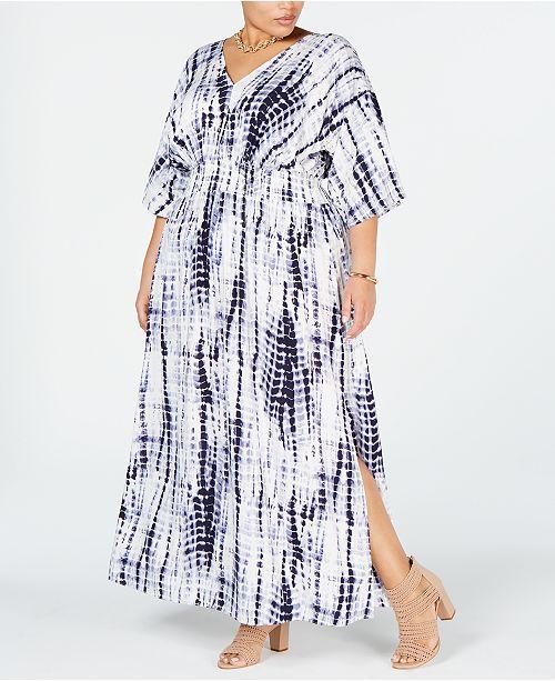 I.N.C. Plus Size Tie Dye Kimono-Sleeve Maxi Dress, Created ...