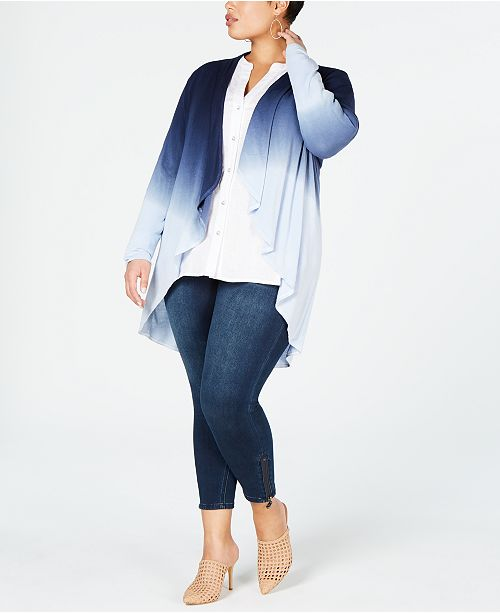 INC International Concepts I.N.C. Plus Size Dip-Dye Cozy Completer, Created for Macy's