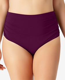 Anne Cole Plus Size Live In Color High-Waist Swim Bottoms