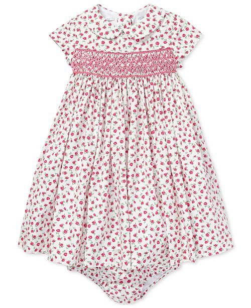 Polo Ralph Lauren Baby Girls Floral-Print Hand-Smocked Dress