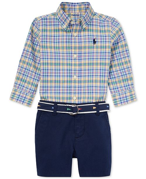 51d97572 Polo Ralph Lauren Baby Boys Plaid Shirt & Shorts Set ...
