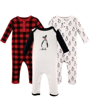 Baby Vision Baby Unisex Hudson Baby Mr. Penguin Coveralls/Union Suit 3-Pack
