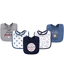 Unisex Cotton Drooler Bibs 5 Pack Baseball One Size