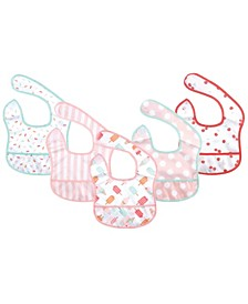 Hudson Baby Unisex Baby Water Resistant Bibs, 5 Pack, Small