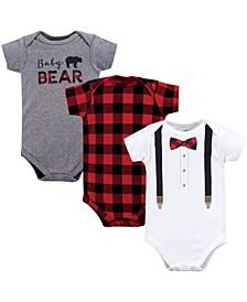 Baby Boys Cotton Bodysuits, Short-Sleeve 3-Pack