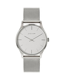 Ladies Watch, Round Stainless Steel Case, Silver Tone Dial, Stainless Steel Mesh Bracelet
