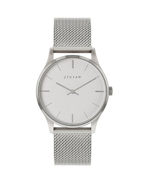 Jigsaw Ladies Watch, Round Stainless Steel Case, Silver Tone Dial, Stainless Steel Mesh Bracelet