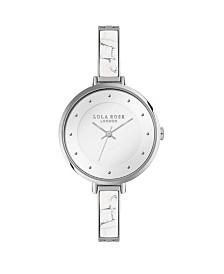 "Lola Rose ""Calming"", Ladies, Genuine White Howlite Stone Semi Bangle Bracelet Watch, 35MM"
