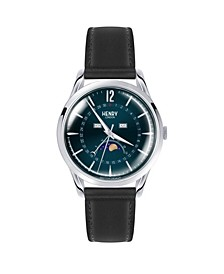 Knightsbridge Unisex 39mm Black Leather Strap Watch with Silver Stainless Steel Casing