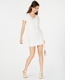 Aidan by Aidan Mattox Sequined Fringe Shift Dress