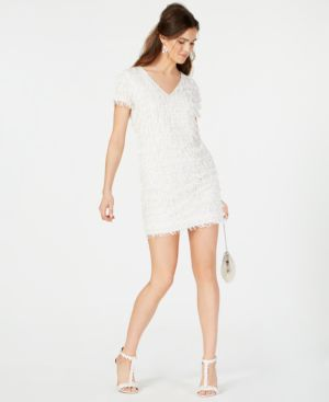 Image of Aidan by Aidan Mattox Sequined Fringe Shift Dress