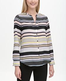 Calvin Klein Striped Band-Collar Shirt