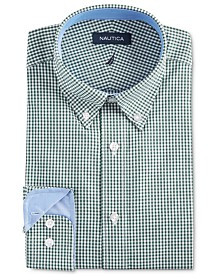 Nautica Men's Classic/Regular-Fit Comfort Stretch Wrinkle-Free Black Gingham Dress Shirt