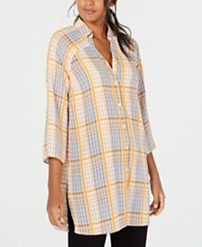 Alfani Collared Plaid Super Tunic, Created for Macy's